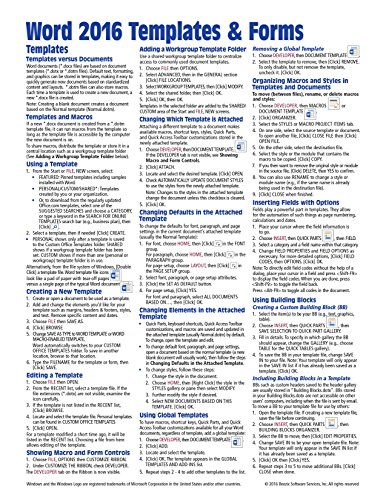 Download Microsoft Word 2016 Templates & Forms Quick Reference Guide - Windows Version (Cheat Sheet of Instructions, Tips & Shortcuts - Laminated Card)
